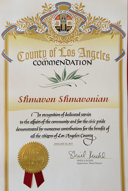 Certificate of commendation - Sheila Kuehl/Supervisor-Third District