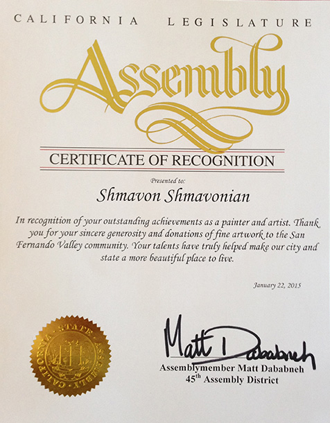 Certificate of Recognition - Assemblymember Matt Dababneh 45th Assembly District