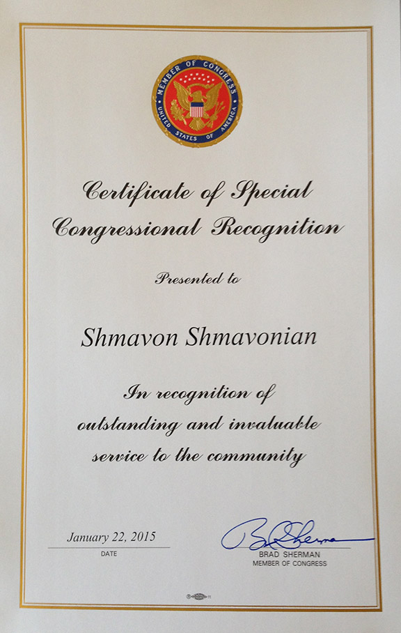 Certificate of Special Congressional - Brad Sherman/Member of Congress
